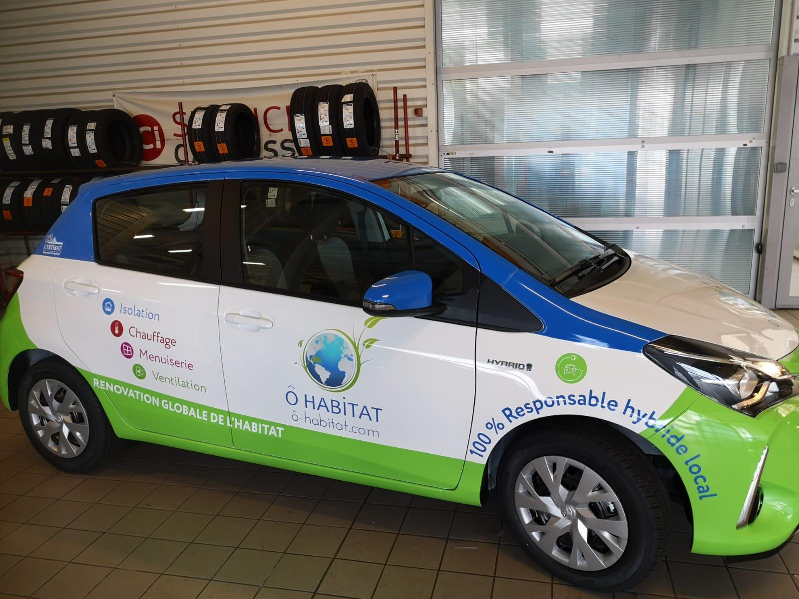 Fabrication et pose d'une enseigne lumineuse et marquage véhicule pour O habitat à Toulouse