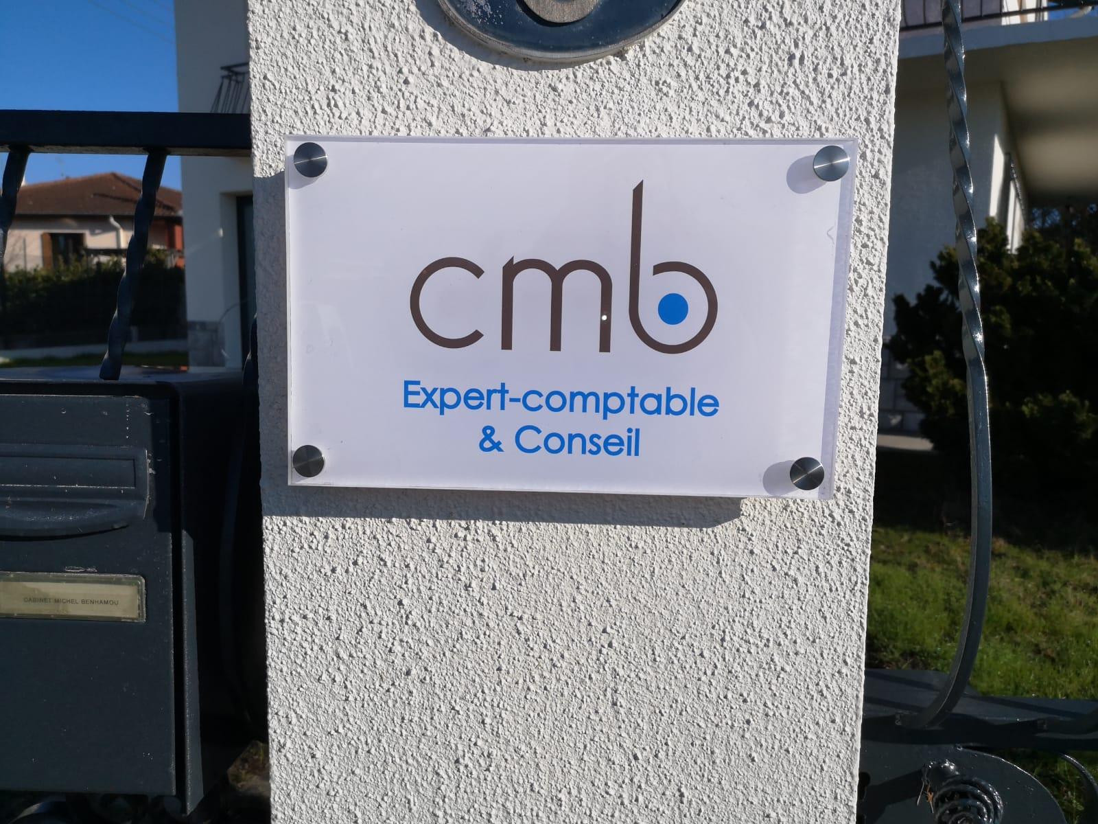 Signalétique Toulouse plaque plexiglas enseigniste CMB expert comptable