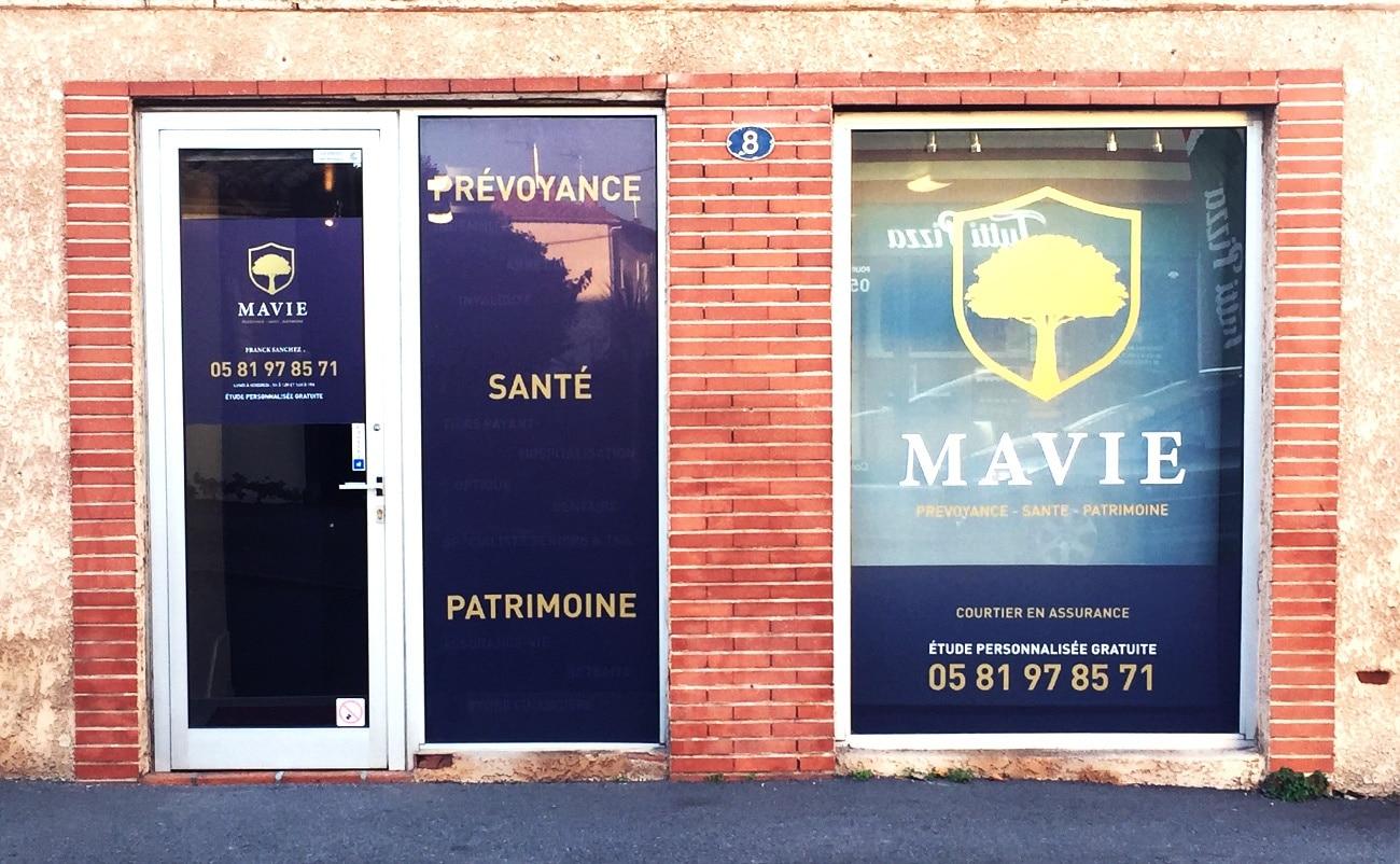 signalétique Toulouse marquage vitrine et enseigne société Mavie