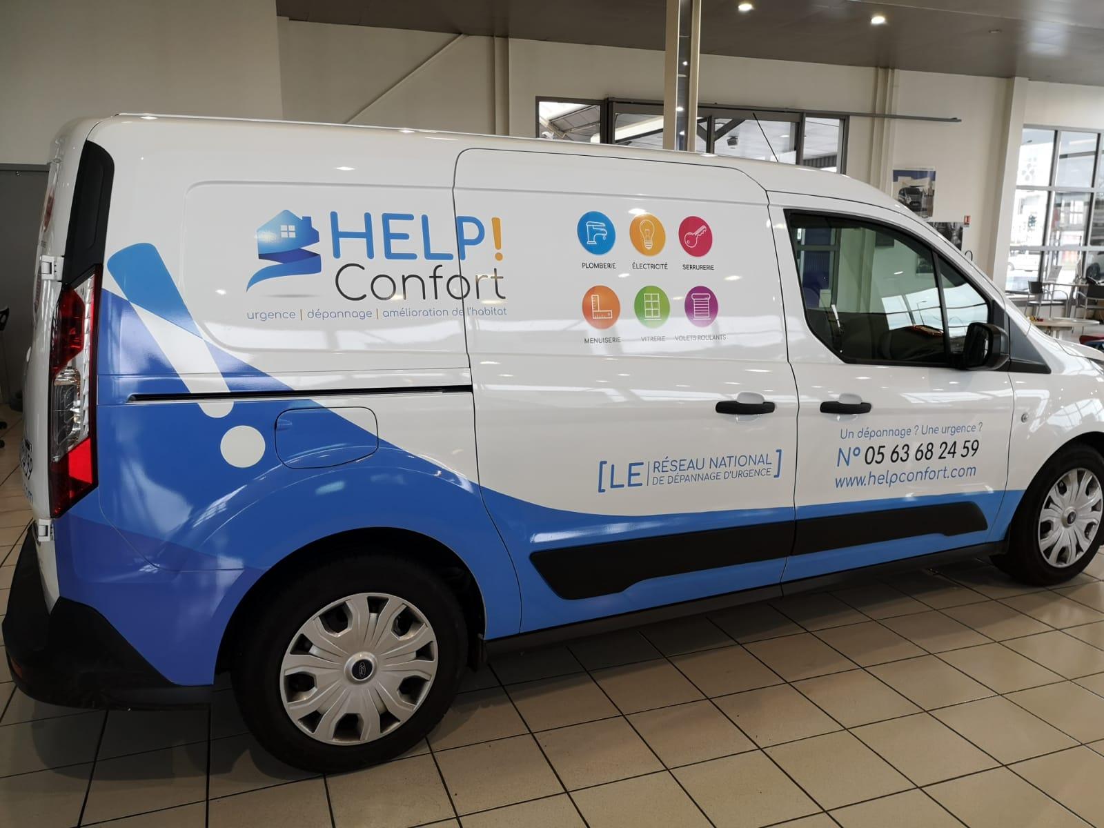 Marquage véhicule Toulouse enseigne Toulouse signalétique Sign'enseigne pour Help Confort