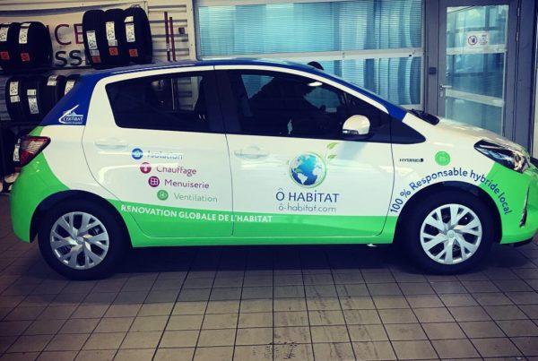 Impression d'un marquage véhicule et d'enseigne lumineuse pour la société O habitat à Toulouse